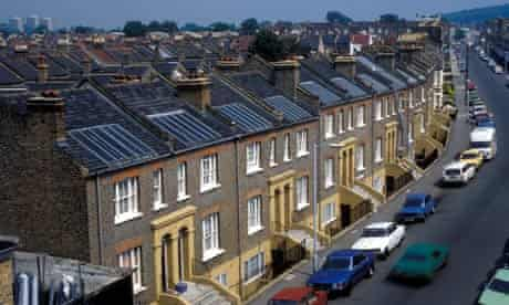 Solar panels on residential houses Whateley Road East Dulwich London