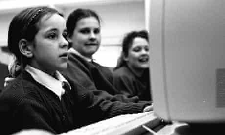 Girls using computers