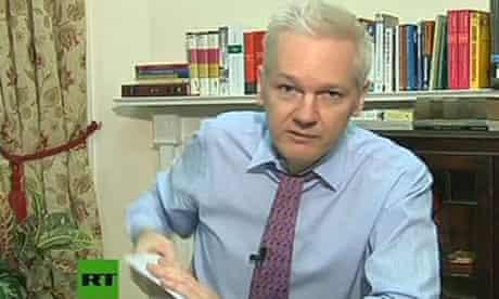 Julian Assange inside the Ecuadorian embassy.