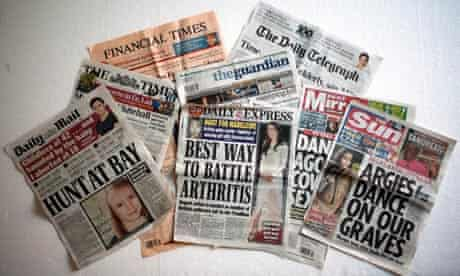 Gender divide … women appear on the front cover of newspapers - but men still run the media.