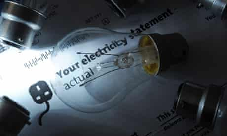 Light bulbs placed on electricity bill