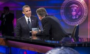 Barack Obama and Jon Stewart