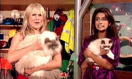 Blue Peter presenters Zoe Salmon holding Socks (left) and Konnie Huq with new kitten Cookie.