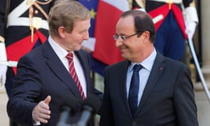 Enda Kenny bids farewell to Francois Hollande after a meeting in Paris