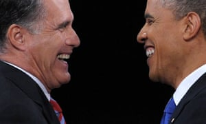 Barack Obama with Mitt Romney after the third and final presidential debate in Boca Raton, Florida.