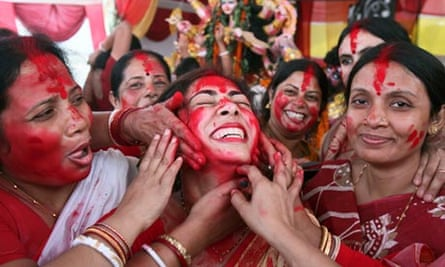 A Hindu woman smeared with