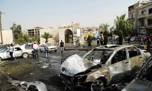 The wreckage from a car-bomb explosion in Bab Touma, Damascus