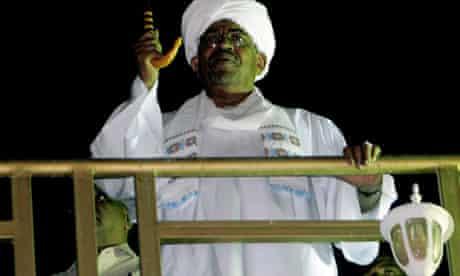 Sudan's president, Omar al-Bashir, speaking to anti-Israeli demonstrators in Khartoum