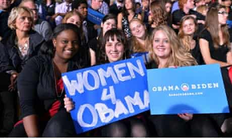 Women support Obama at a campaign rally