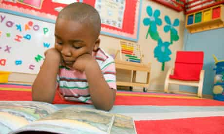 Pre-school boy reading