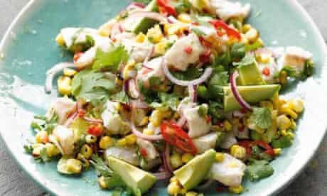 Yotam Ottolenghi's smoky corn and avocado ceviche recipe