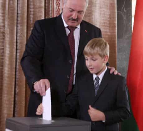 Alexander Lukashenko and his son Nikolay voting, September 2012
