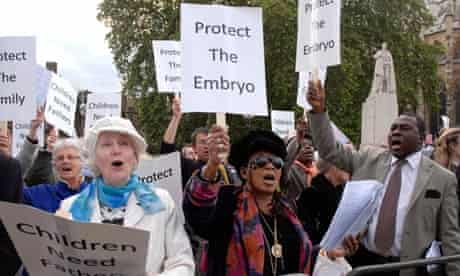 Anti-abortion campaigners, fighting to lower the age limit, protest outside parliament in 2008.