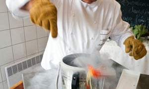 A chef cooking with liquid nitrogen