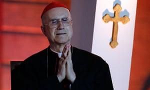 Cardinal Tarcisio Bertone, who ruled against the Pontifical Catholic University of Peru in Lima