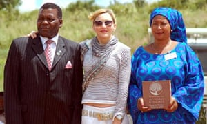 Madonna with Malawi's Education Minister George Chaponda