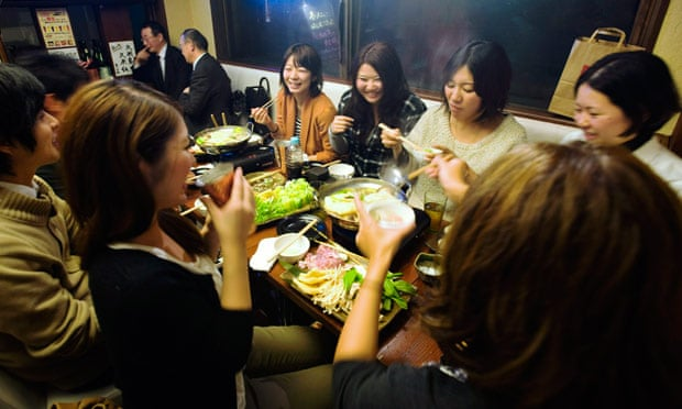 Customers eat Fukushima hotpot at 47 Dining in Tokyo