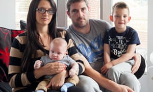 Nicola Probert and Tony Hodge at home in Bristol with children Finley and Bobby.