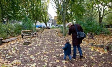 Wild wood area in London Fields, Hackney