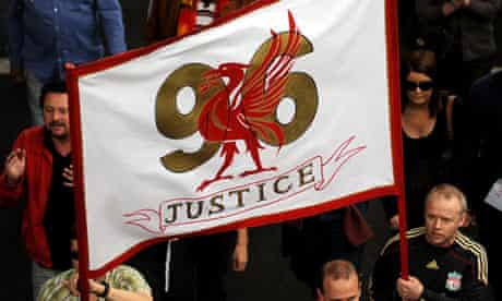Protesters in London demand justice for the 96 victims of the Hillsborough tragedy in 2009.