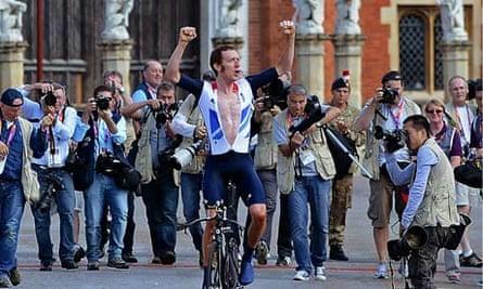 Britain's Bradley Wiggins celebrates win