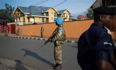 United Nations peacekeepers and a Congol