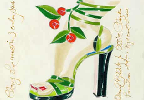 Blahnik's 1971 sketch of an ankle entwined by ivy and cherries.