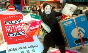 An activist takes part in Buy Nothing Day in Seoul in 1999