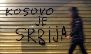 Graffiti on a wall reading  'Kosovo is Serbia' in Belgrade.