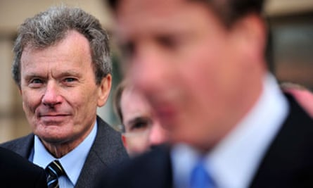 Geoff Driver listening to David Cameron speak after the Conservatives regained Lancashire in 2009