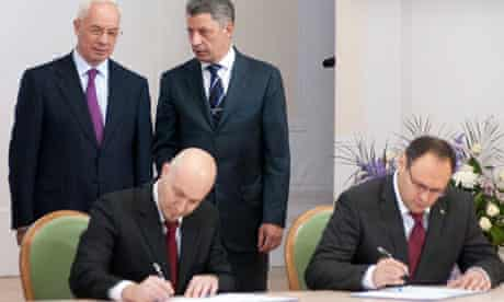 Ukrainian PM at signing of agreement in Kiev