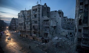 Rebel-controlled Sa'ar street after airstrikes targeted the area, killing dozens in Aleppo, Syria
