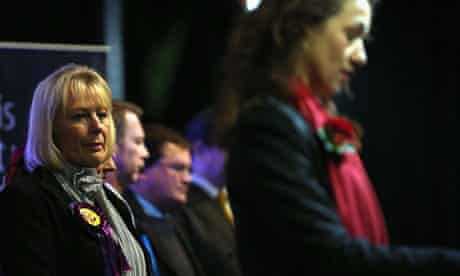 Ukip candidate Jane Collins watches Labour's Sarah Champion gives her acceptance speech as MP