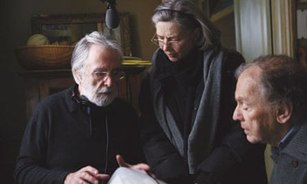 Michael Haneke on the set of Amour with Jean-Louis Trintignant and Emmanuelle Riva