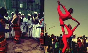 Gamo singers and artists from the circus in Debre Berhan