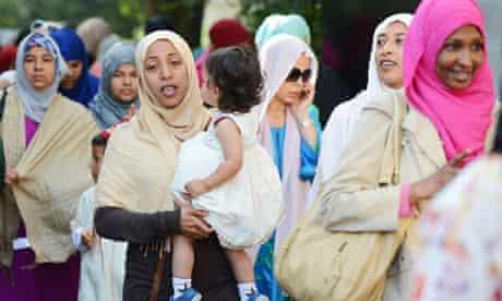 Muslim women celebrate Eid al-Fitr at the Regent's Park Mosque in London