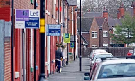 Row of houses with 'to let' signs