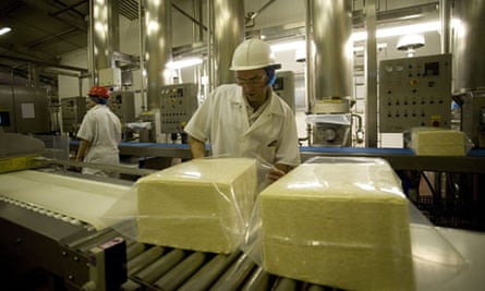 Cheddar cheese production at Wyke Farm. The Somerset brand is now stocked in French supermarkets.