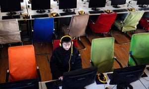China computer in an internet cafe at Changzhi