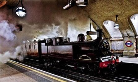 Steam train arrives at Baker Street station
