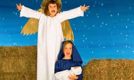 A nativity scene in a children's nativity play