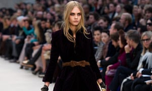 Cara Delevingne on the Burberry catwalk