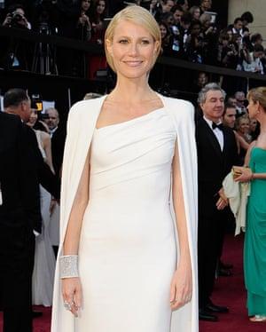 Gwyneth Paltrow in that white Tom Ford Oscar cape.