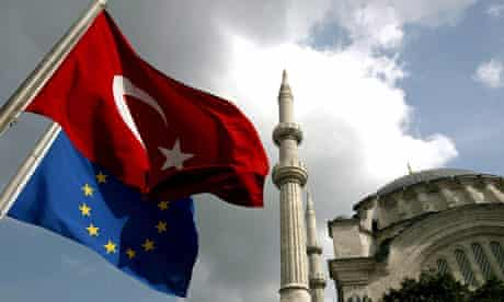 Turkish and EU flags in Istanbul