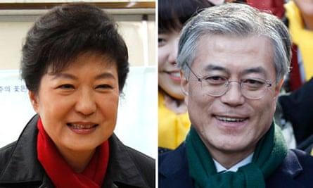 Park Geun-hye and Moon Jae-in