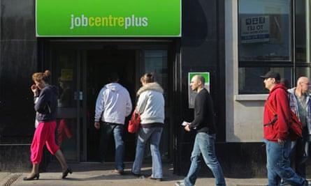 Unemployed people enter a Bristol job centre