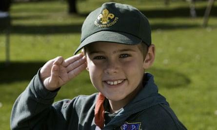 Boy scout saluting