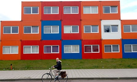 Housing made from converted shipping containers, Amsterdam