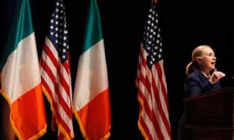 Hillary Clinton delivers a speech at Dublin City University