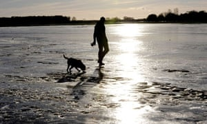 A man walks his dog on frozen floodwater at York Knavesmire, North Yorkshire